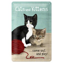 Placa metalica - Cats and Kittens - 20x30 cm