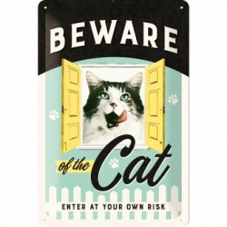 Placa metalica - Beware of the Cat - 20x30 cm