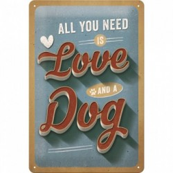 Placa metalica - Love Dog - 20x30 cm
