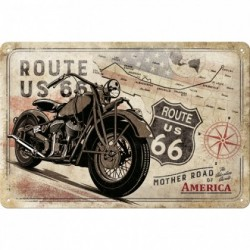 Placa metalica - Route 66 - Bike Map - 20x30 cm