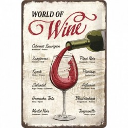 Placa metalica - World of Wine - 20x30 cm