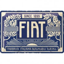 Placa metalica Fiat - Since 1899 Logo Blue 20x30 cm