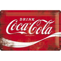 Placa metalica - Coca Cola - Logo Red M - 20x30 cm