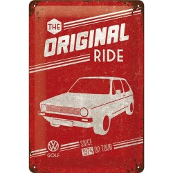 Placa metalica - VW Golf - The Original Ride - 20x30 cm