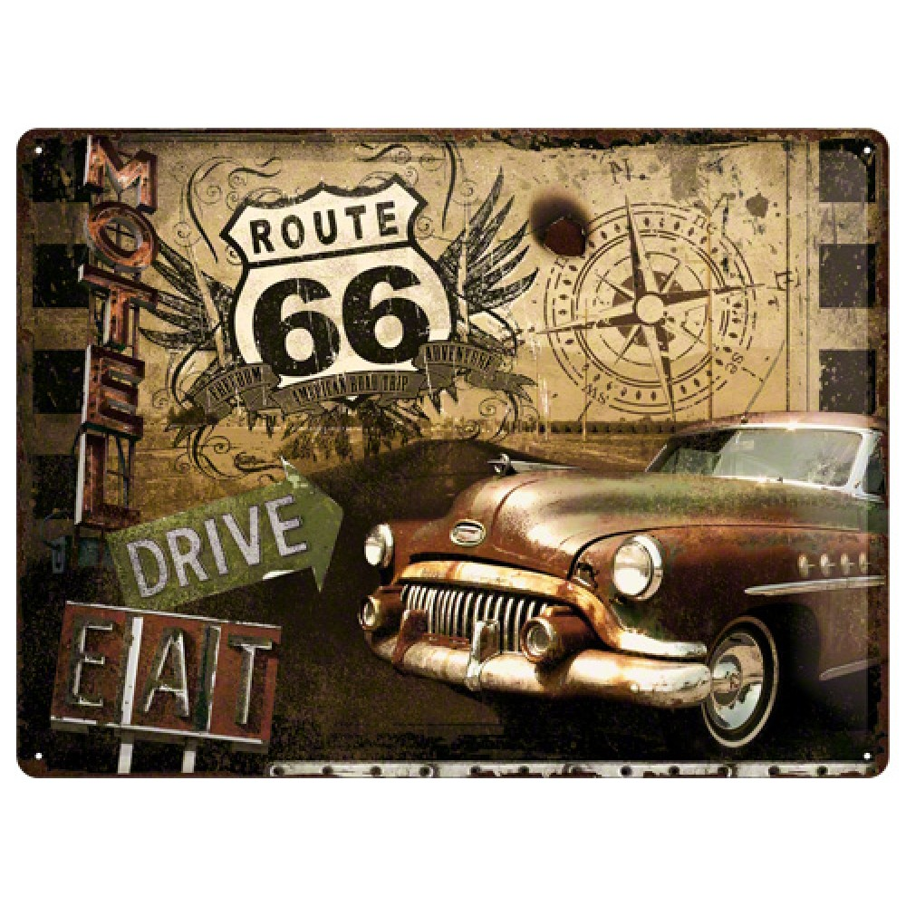 Placa metalica - Route 66 Road Trip - 30x40 cm