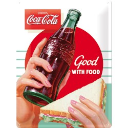 Placa metalica - Coca Cola - Good with Food - 30x40 cm