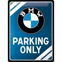 Placa metalica - BMW - Parking Only Blue - 30x40 cm
