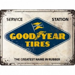 Placa metalica - Goodyear - Logo White - 30x40 cm