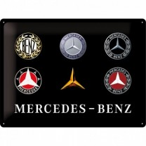 Placa metalica - Mercedes Benz Logo Evolution - 30x40 cm