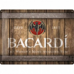 Placa metalica - Bacardi - Wood Logo - 30x40 cm