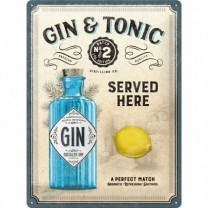 Placa metalica - Gin & Tonic  30x40 cm
