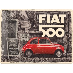 Placa metalica Fiat 500 - Red car in the street