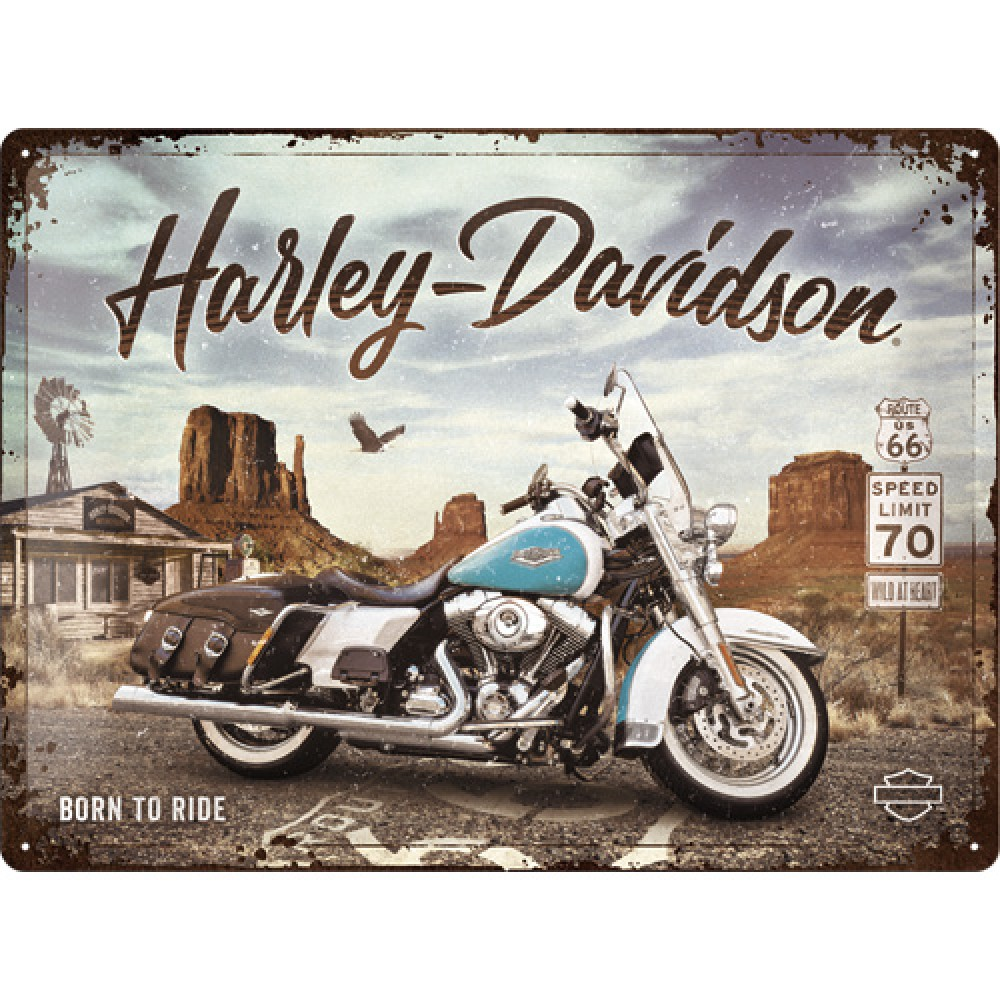 Placa metalica Harley-Davidson - Route 66 Road King Classic