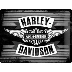 Placa metalica - Harley-Davidson-Wings Logo Metal - 30x40 cm