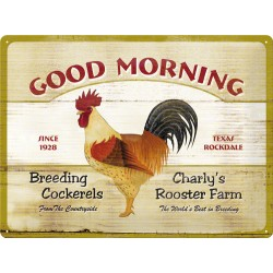 Placa metalica - Good Morning - Rooster - 30x40 cm