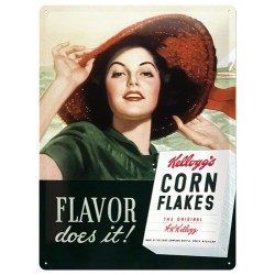 Placa metalica - Kellogg's - Flavor does it! - 30x40 cm