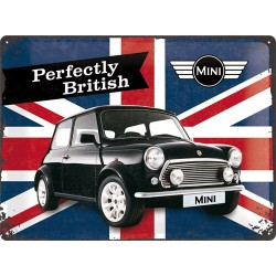Placa metalica - Mini Cooper - Perfectly British - 30x40 cm