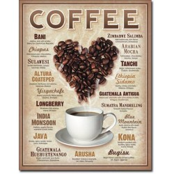 Placa metalica - Heart Coffee - 30x40 cm