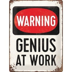 Placa metalica - Warning GENIUS at work - 30x40 cm