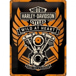 Placa metalica - Harley Davidson Wild at Heart - 30x40 cm