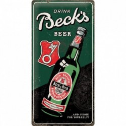 Placa metalica - Becks Bottle - 25x50 cm
