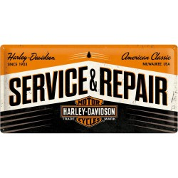 Placa metalica - Harley Davidson - Service and Repair - 25x50 cm