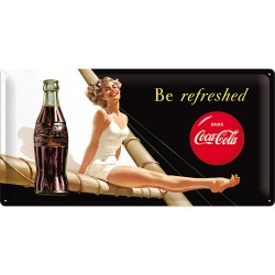 Placa metalica - Coca Cola - Be Refreshed Lady - 25x50 cm