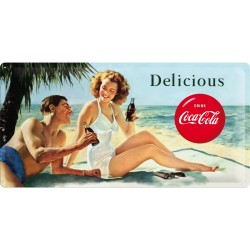 Placa metalica - Coca Cola - Beach Couple - 25x50 cm