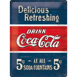 Placa metalica - Coca Cola - Delicious Refreshing Blue - 30x40 cm