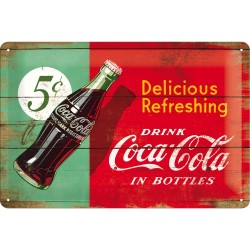 Placa metalica - Coca Cola - Refreshing Green - 20x30 cm