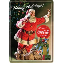 Placa metalica - Coca Cola - Happy Santa - 10x14 cm