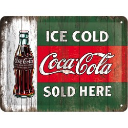 Placa metalica - Coca Cola - Ice Cold - 15x20 cm