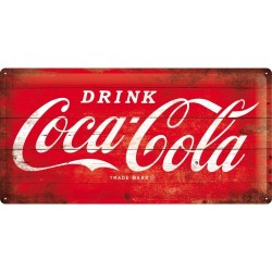 Placa metalica - Coca Cola - Red Logo - 25x50 cm