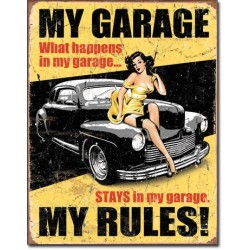 Placa metalica - My Garage - My Rules - 30x40 cm