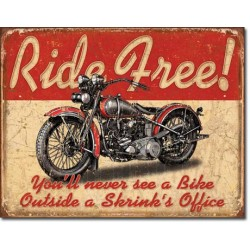 Placa metalica - Ride Free - 30x40 cm
