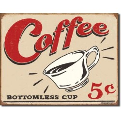 Placa metalica - Coffee 5 cents - 30x40 cm