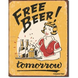 Placa metalica - Free Beer Tomorrow - 30x40 cm
