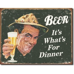 Placa metalica - Beer - It's what's for Dinner - 30x40 cm