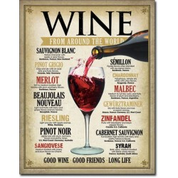 Placa metalica - Wine Around the World - 30x40 cm