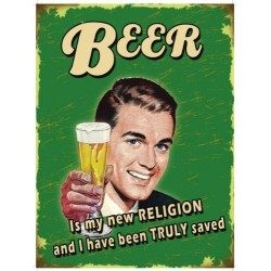 Placa metalica - Beer is my new religion - 30x40 cm