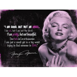 "Placa metalica - Marilyn Monroe ""I'm good but not an angel"" - 30x40 cm"