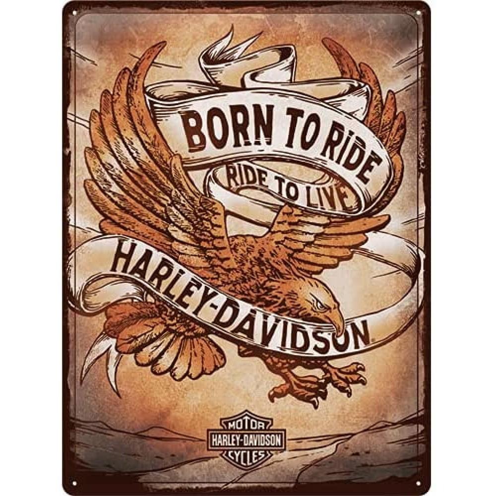 Placa metalica Harley Davidson - Born to Ride Eagle