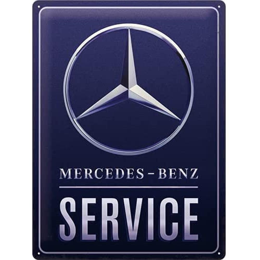 Placa metalica Mercedes Benz - Service Blue 30x40cm