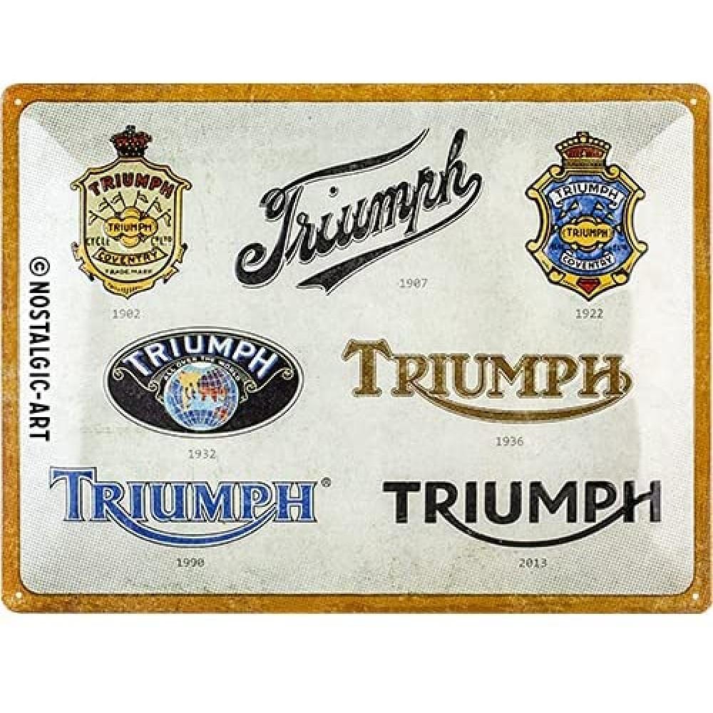 Placa metalica Triumph - Logo Evolution 30x40cm