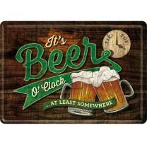 Placa metalica Beer O' Clock Glasses 10x14cm