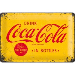 Placa metalica - Coca Cola - Yellow Logo - 20x30 cm