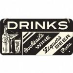 Placa metalica cu snur - Drinks - 10x20 cm
