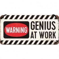 Placa metalica cu snur - Genius at work - 10x20 cm