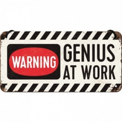 Placa metalica cu snur - Genius at work - 10x20 cm