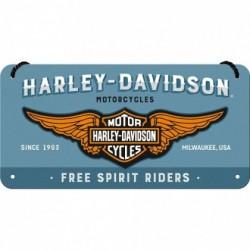 Placa metalica cu snur - Harley Davidson Free Spirit Riders - 10x20 cm